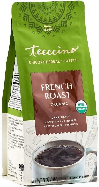 Teeccino Chicory Herbal Coffee Organic All Purpose Grind French Roast Dark Roast No Caf 312g