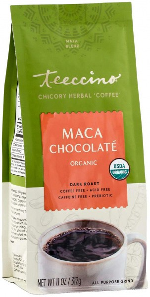 Teeccino Chicory Herbal Coffee Organic All Purpose Grind Maca Chocolate Dark Roast No Caf 312g