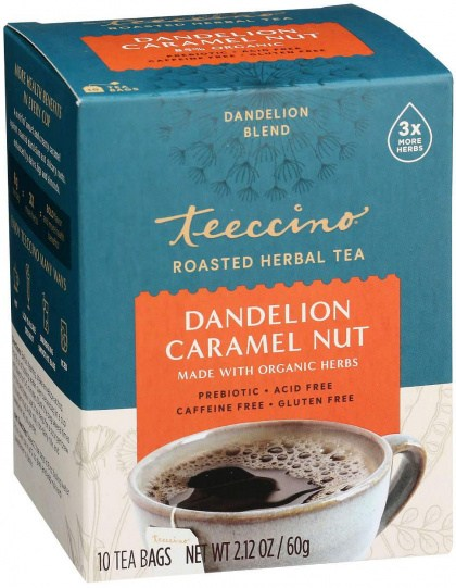 Teeccino Chicory Herbal Tea Dandelion Caramel Nut No Caf  10Teabags 60g