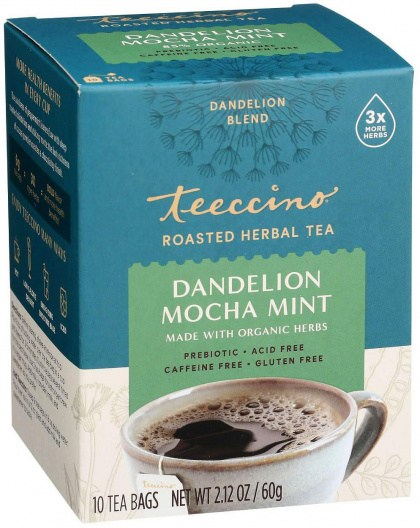 Teeccino Chicory Herbal Tea Organic Dandelion Mocha Mint No Caf  10Teabags 60g