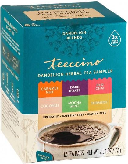 Teeccino Dandelion Tea Sampler (Caramel, Coconut, D/Roast,MMint, R/Chai,Turmeric)  12Teabags 72g