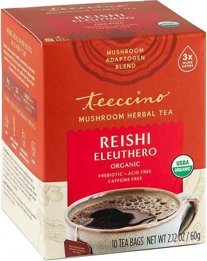 Teeccino Reishi Eleuthero Mushroom Adaptogen 10Teabags Box 60g