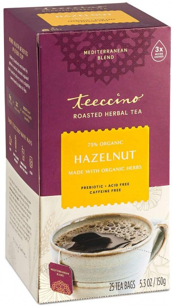 Teeccino Roasted Herbal Tea Hazelnut Medium Roast No Caf 25Teabags 150g