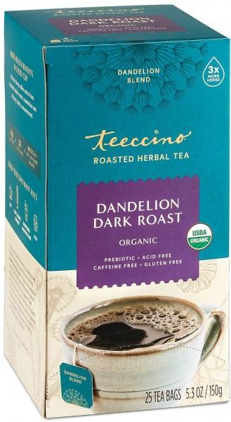 Teeccino Roasted Herbal Tea Organic Dandelion Dark Roast No Caf  25Teabags 150g