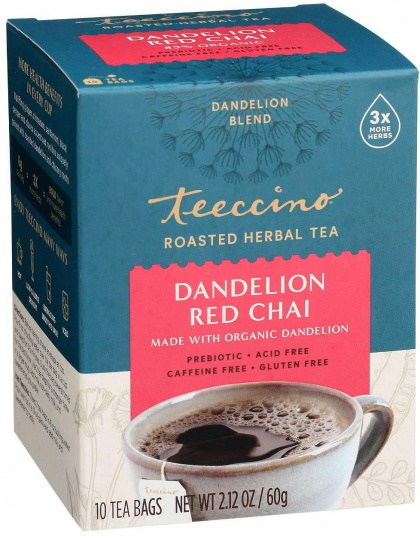Teeccino Roasted Herbal Tea Organic Dandelion Red Chai No Caf  10Teabags 60g