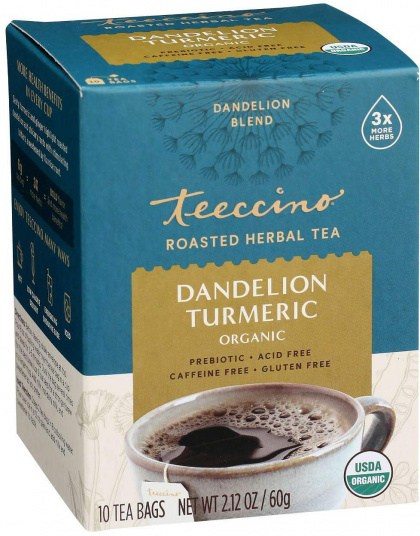 Teeccino Roasted Herbal Tea Organic Dandelion Turmeric No Caf  10Teabags 60g