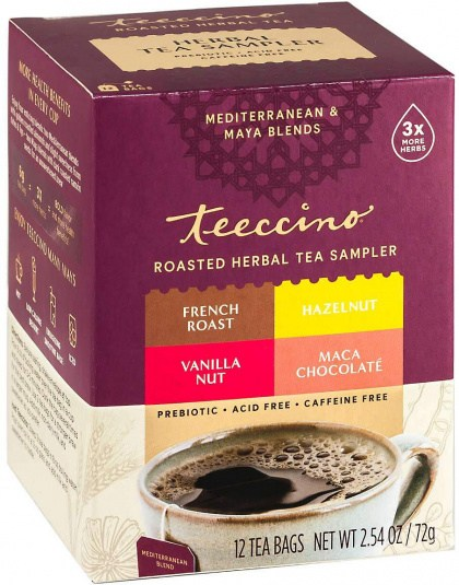 Teeccino Roasted Herbal Tea Sampler (MChocolate, French Roast, Hazelnut, Vanilla Nut) 12Teabags 72g