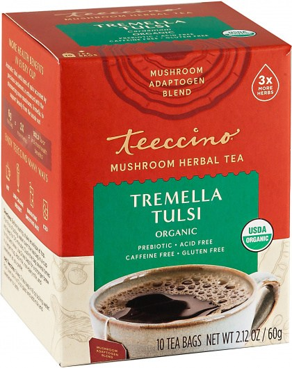 Teeccino Tremella Tulsi Mushroom Adaptogen 10Teabags Box 60g