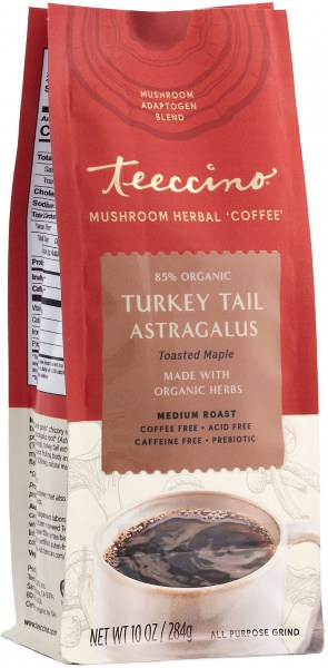 Teeccino Turkey Tail Astragalus Mushroom Adaptogen 284g Foil Bag
