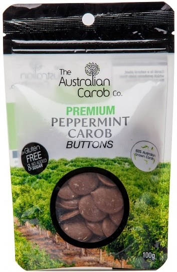 The Australian Carob Premium  Peppemint Carob Buttons NAS 100g