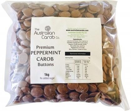 The Australian Carob Premium Peppermint Carob Buttons NAS 1Kg