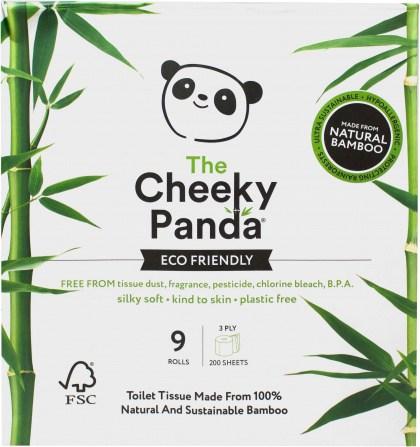 The Cheeky Panda Plastic Free Toilet Rolls 9 Rolls (3Ply 200 Sheets)