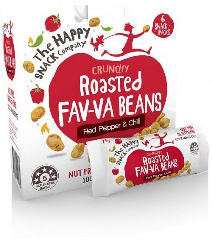 The Happy Snack Company Roasted Fav-va Beans Red Pepper & Chilli 6x25g Box