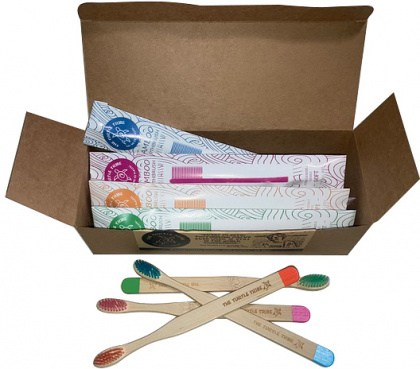 The Turtle Tribe Bulk Budget Bamboo Toothbrushes 12Pack