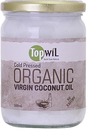 TopwiL Cold Pressed Organic Virgin Coconut Oil Bottle 500mL