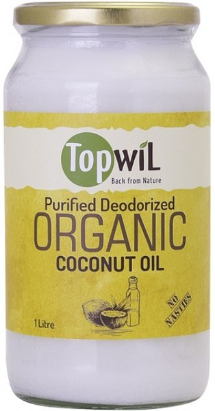 TopwiL Purified Deodorized Organic Coconut Oil Bottle 1L