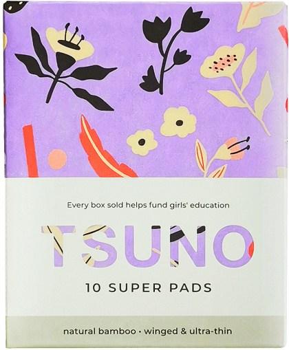 Tsuno Natural Bamboo Super Pads Winged & Ultra Thin Box of 10