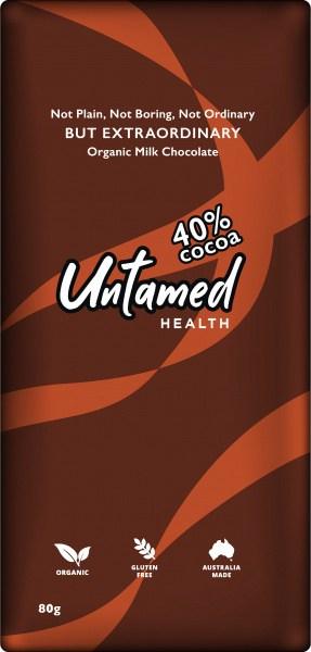 Untamed Health Organic Milk Chocolate 40% Plain 80g