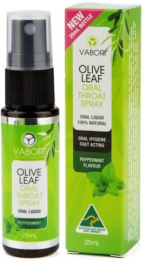 Vabori Olive Leaf Extract Oral Throat Spray Peppermint  25ml