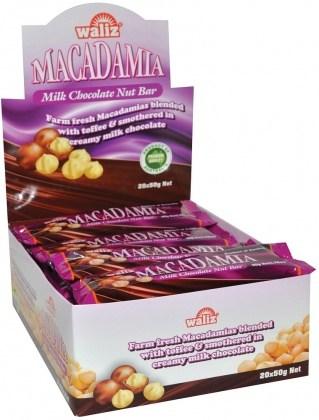 Waliz Macadamia Milk Chocolate Nut Bar  20x50g