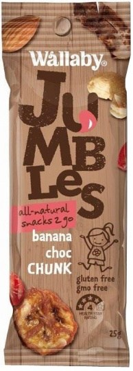 Wallaby Jumbles All Natural Snacks 2 Go Banana Choc Chunk 8x25g