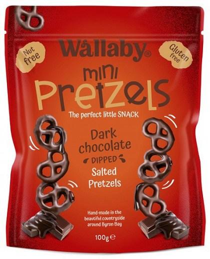 Wallaby Mini Pretzels Dark Chocolate Dipped Salted Pretzels  100g
