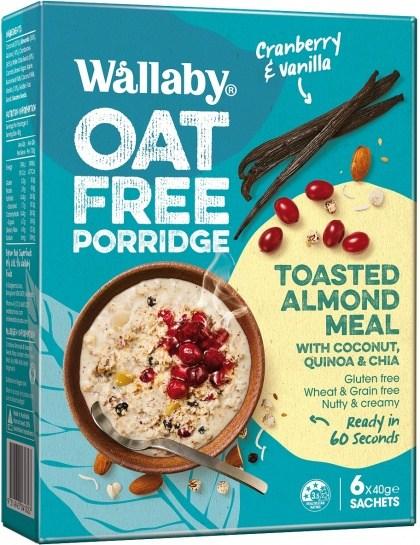 Wallaby Oat Free Porridge Cranberry & Vanilla  6x40g Sachets