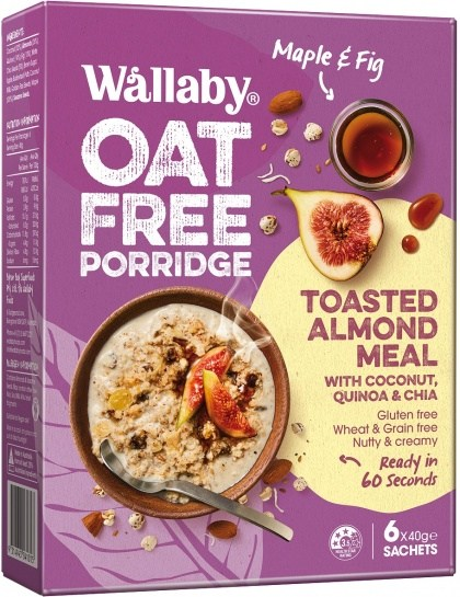 Wallaby Oat Free Porridge Maple & Fig  6x40g Sachets