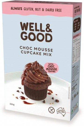 Well And Good Choc Mousse Cup Cake Mix & Mousse Topping  450g NOV22