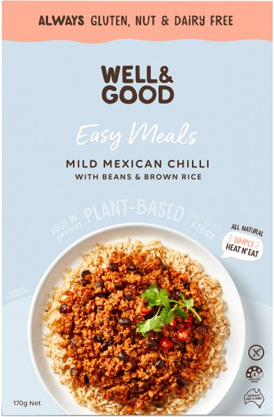 Well And Good Easy Meal Mild Mexican Chilli With Beans & Brown Rice  170g