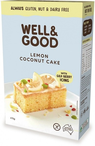 Well And Good Lemon Coconut Cake Mix & Gojiberry Icing  475g