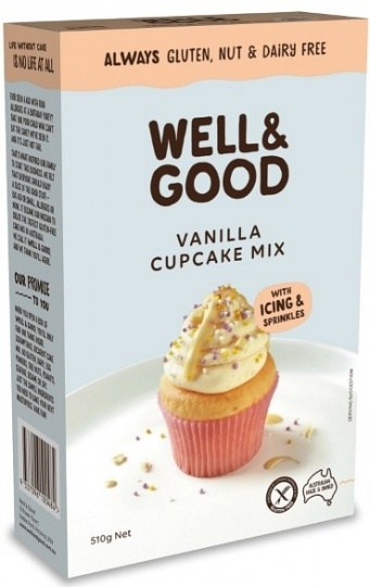 Well And Good Vanilla Cup Cake Mix + Frosting & Colour Sprinkles  510g