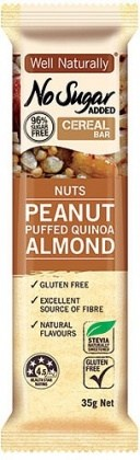 Well,naturally NAS Cereal Bar Nuts Peanut Puffed Quinoa Almond  16x35g