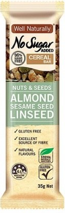 Well,naturally NAS Cereal Bar Nuts&Seeds Almond Sesame Seed Linseed  16x35g