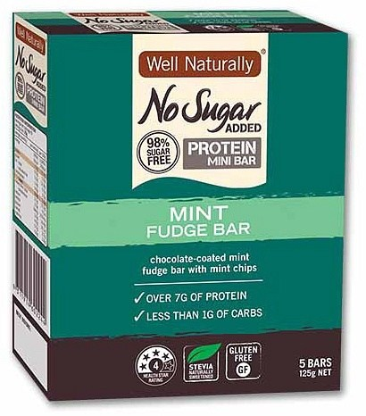 Well,naturally NAS Low Carb Choc Coated Protein Bar Mint Fudge 5x25g