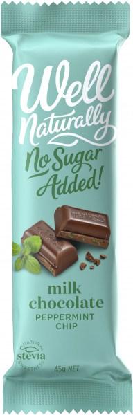 Well Naturally NAS Peppermint Crisp Milk Chocolate Bar 16x45g