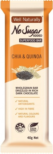 Well,naturally No Sugar Added Chia & Quinoa Superfood Bars 16x40g