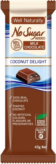 Well,naturally No Sugar Added Coconut Delight Bars  16x45g