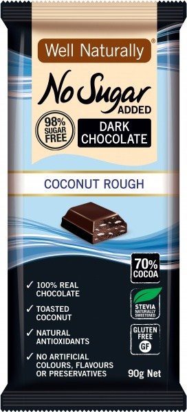 Well,naturally No Sugar Added Dark Chocolate Coconut Rough 12x90g