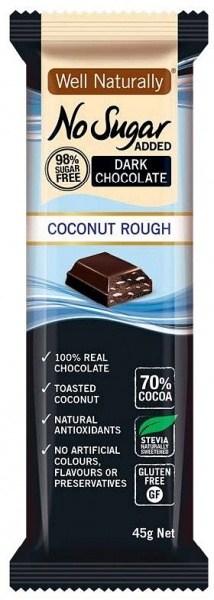 Well,naturally No Sugar Added Dark Chocolate Coconut Rough 16x45g FEB21