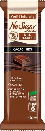 Well,naturally No Sugar Added Milk Chocolate Cacao Nibs Bars  16x45g