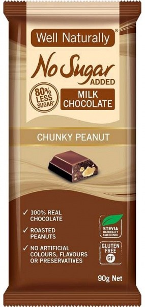 Well,naturally No Sugar Added Milk Chocolate Chunky Peanut 12x90g