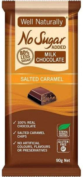 Well,naturally No Sugar Added Milk Chocolate Salted Caramel 12x90g FEB21