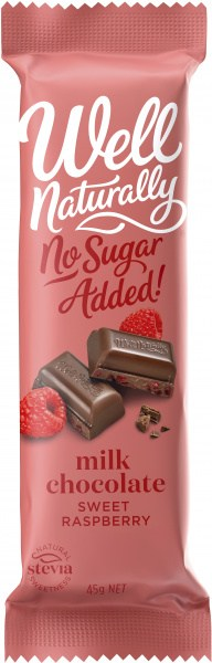 Well,naturally No Sugar Added Milk Chocolate Sweet Raspberry Bars  16x45g