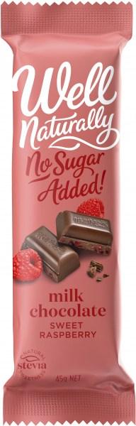 Well Naturally No Sugar Added Milk Chocolate Sweet Raspberry Bars  16x45g