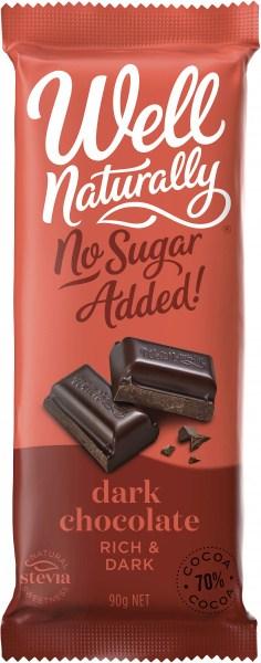 Well Naturally S/F Rich Dark Chocolate Block  12x90g