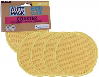 White Magic Eco Cloth Coaster 4Pk Lemon  - 11.5cm