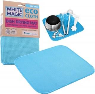 White Magic Eco Cloth Dish Drying Mat Sea Blue - 40x45cm