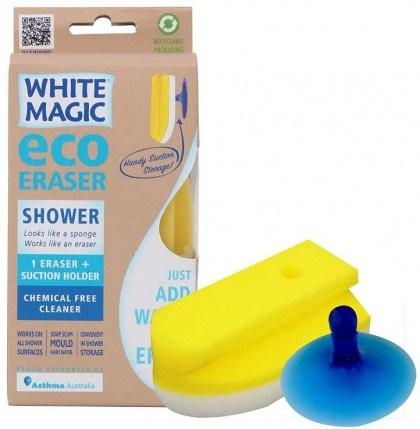 White Magic Shower Eraser Sponge (Sponge+Suction Hook) - 15x7x4cm