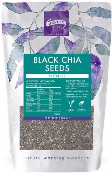 Wonderfoods Chia Seeds Black (Org) 250g